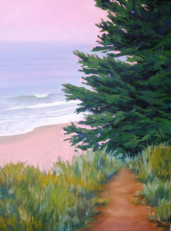 Ocean Poster featuring the painting Above The Beach El Capitan by Dorothy Nalls