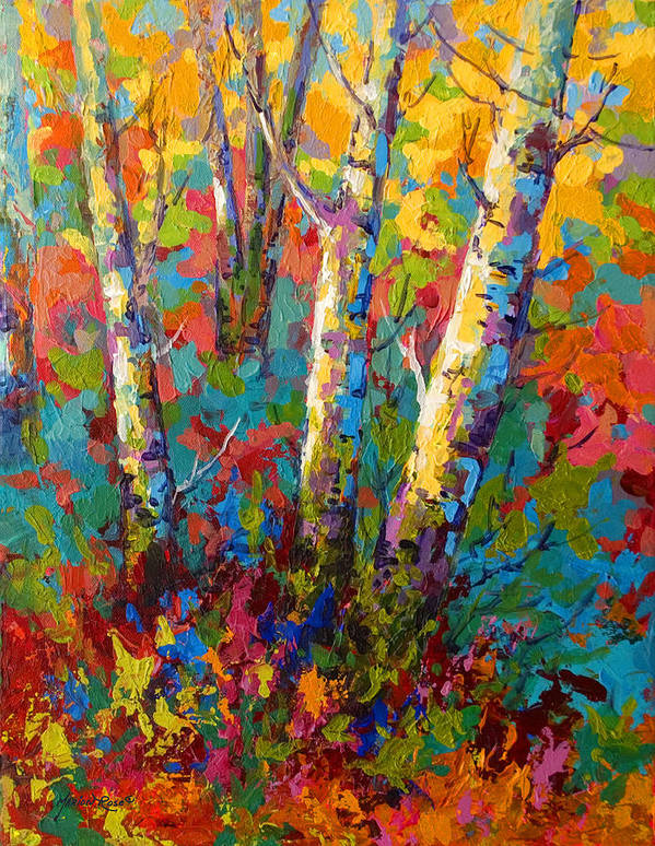 Trees Poster featuring the painting Abstract Autumn II by Marion Rose