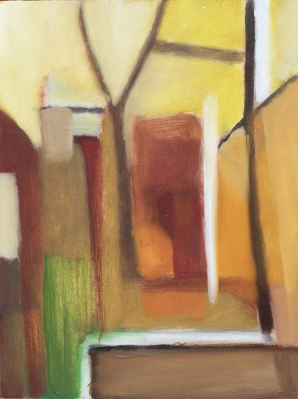 Landscape Poster featuring the painting Abstract Backyard 2008 by Ron Erickson