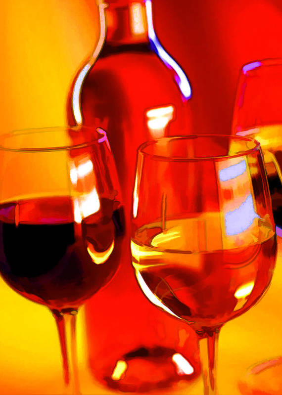 Wine Poster featuring the painting Abstract Bottle Of Wine And Glasses Of Red And White by Elaine Plesser