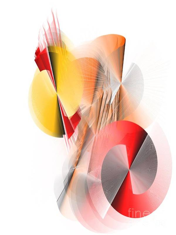 Abstract Digital Red And Yellow Poster By Patty Meotti