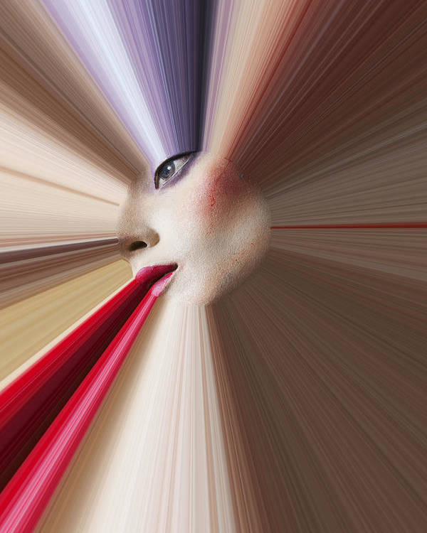 Abstract Face Eye Red Lips Poster featuring the photograph Abstract Face by Garry Gay