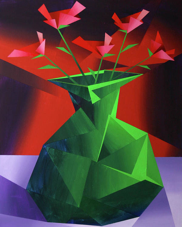 Red Roses Poster featuring the painting Abstract Flower Vase Prism Acrylic Painting by Mark Webster