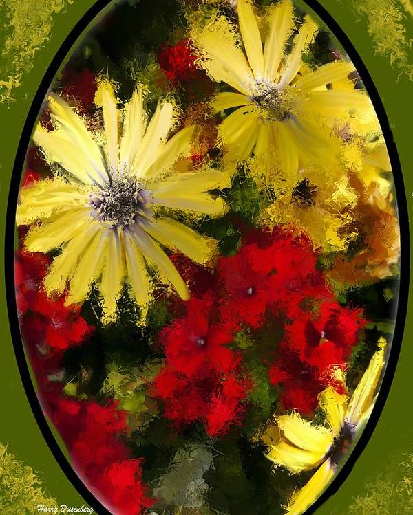 Flowers Poster featuring the painting Abstract Flowers 2 by Harry Dusenberg