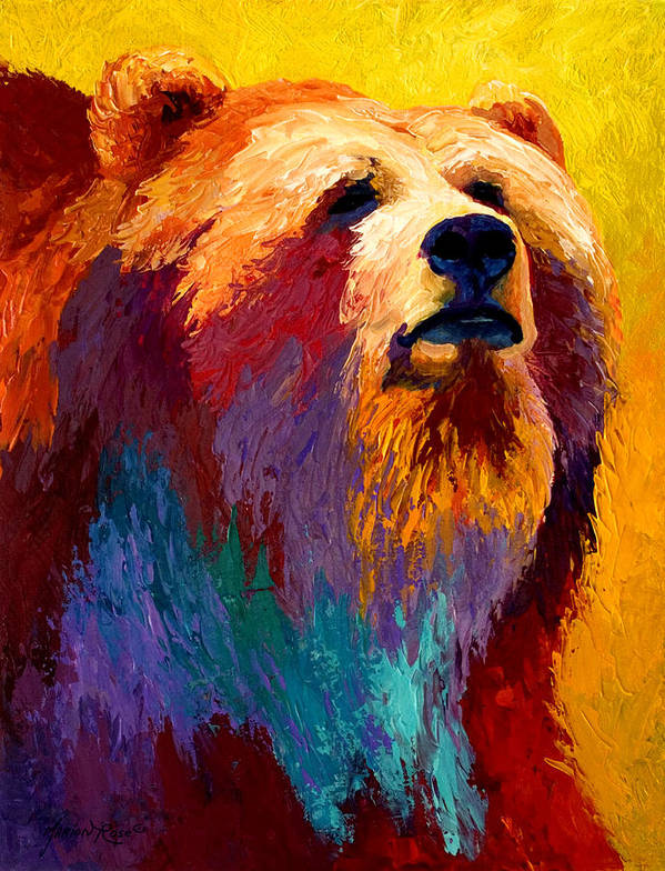 Western Poster featuring the painting Abstract Grizz by Marion Rose