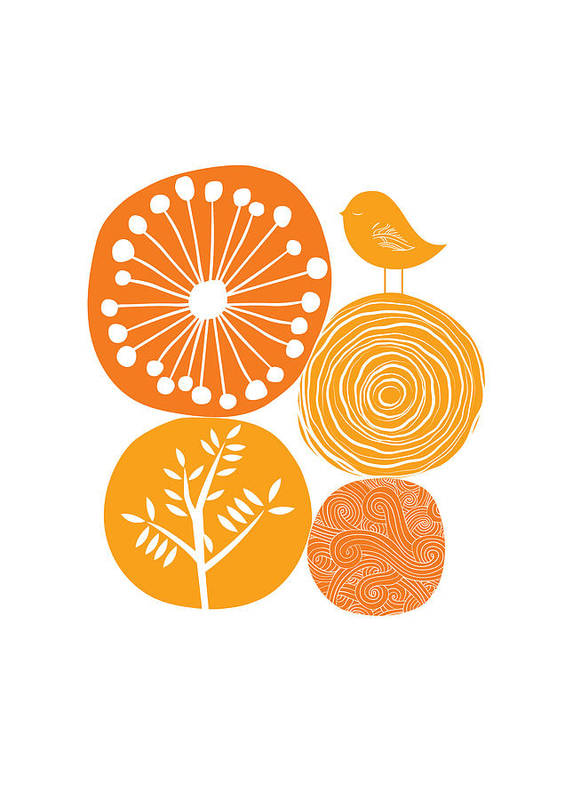 Nature Poster featuring the digital art Abstract Nature Orange by BONB Creative