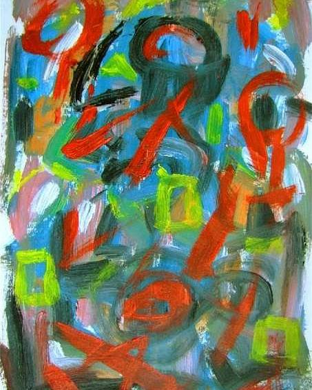Abstract Art Poster featuring the painting Abstract On Paper No. 20 by Michael Henderson