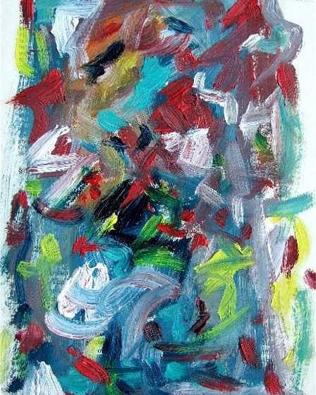 Abstract Art Poster featuring the painting Abstract On Paper No. 32 by Michael Henderson