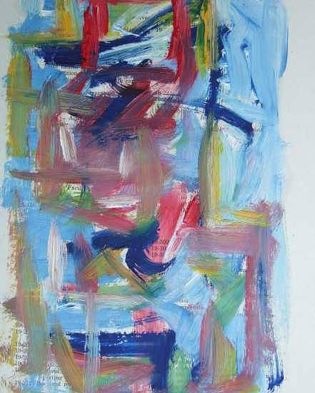 Abstract Poster featuring the painting Abstract On Paper No. 37 by Michael Henderson