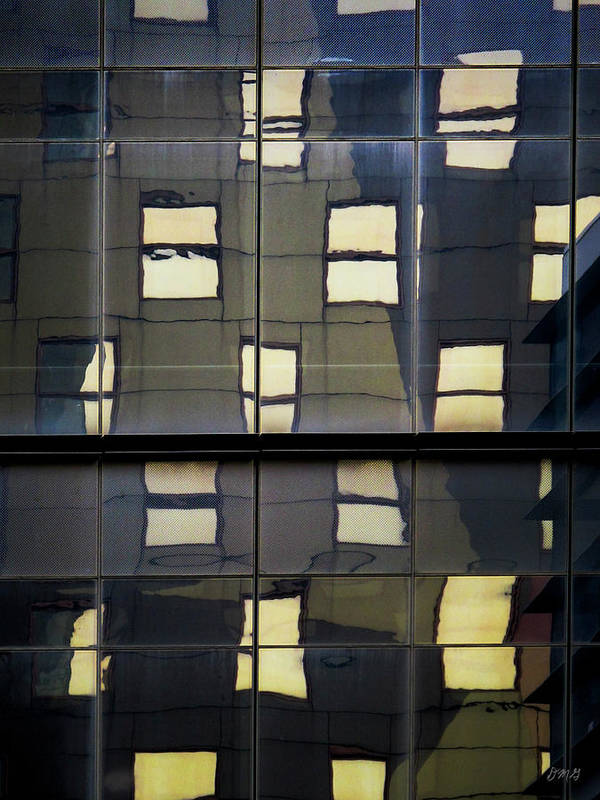 Reflection Poster featuring the photograph Abstract Window Reflections - Nyc by Dave Gordon