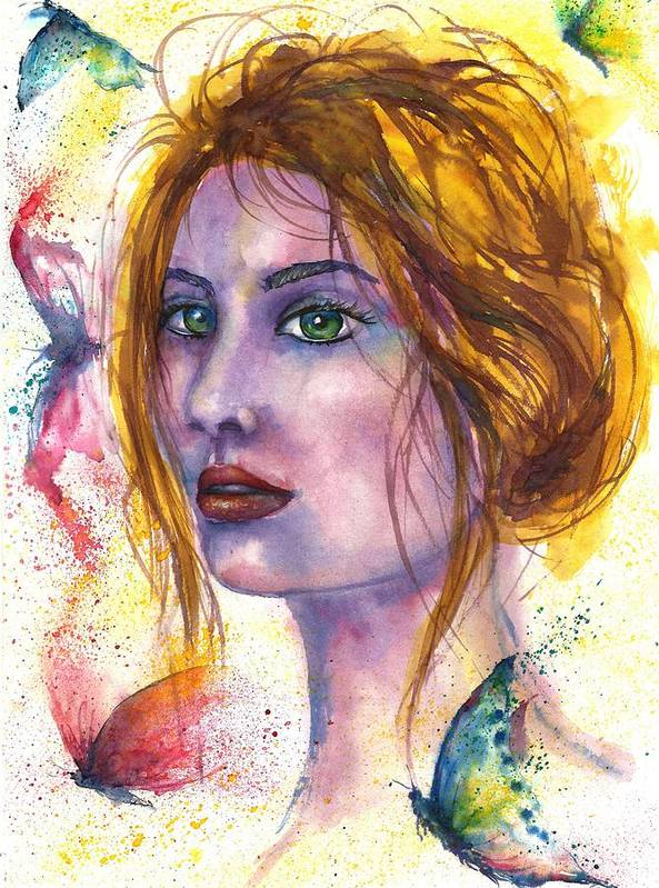 Women Face Poster featuring the painting Abstract women face by Natalja Picugina