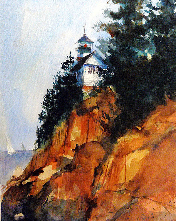 Acadia. Acadian Poster featuring the painting Acadian Lighthouse by Charles Rowland