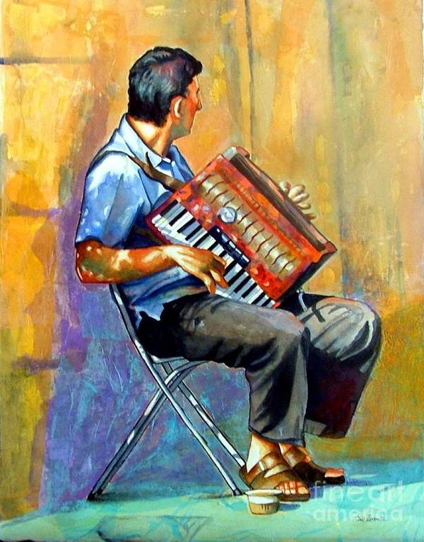 Portrait Poster featuring the painting Accordian Player by Gail Zavala