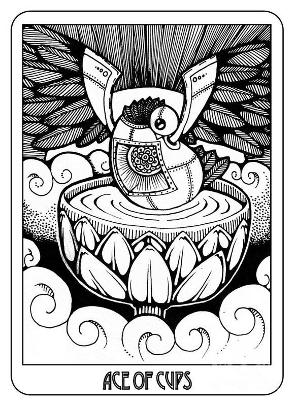 Ace Of Cups Poster featuring the drawing Ace Of Cups by Jaeme Case