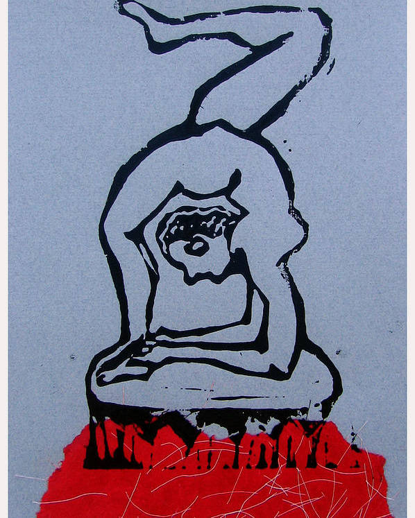 Lino Poster featuring the mixed media Acrobat 2 by Adam Kissel