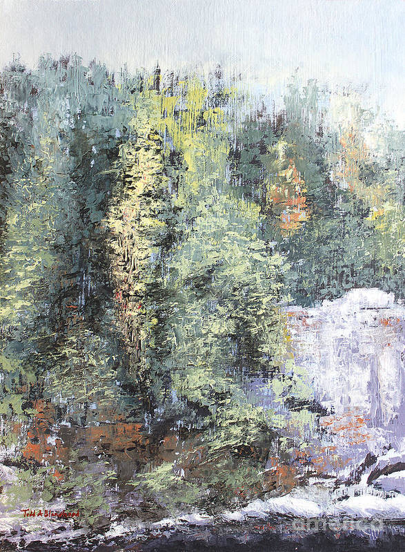 Landscape Poster featuring the painting Across The Ravine by Todd Blanchard