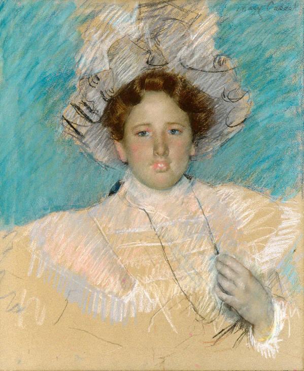 Mary Stevenson Cassatt Poster featuring the drawing Adaline Havemeyer In A White Hat by Mary Stevenson Cassatt