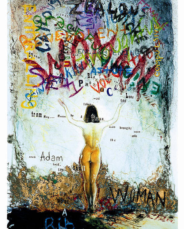 Nude Female Woman Oil Painting Adams Rib Poster featuring the painting Adam's Rib by Sean OConnor