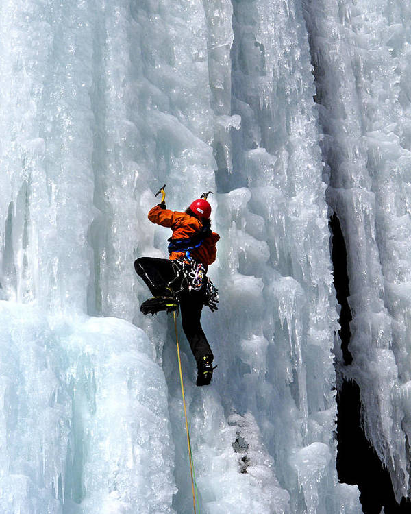 Adirondacks Poster featuring the photograph Adirondack Ice Climber by Brendan Reals