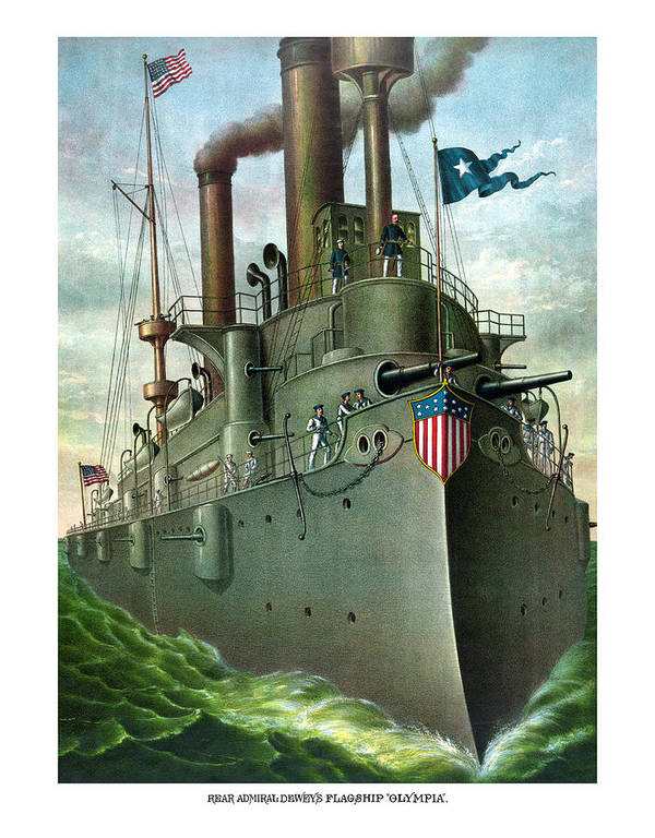 George Dewey Poster featuring the painting Admiral Dewey's Flagship Olympia by War Is Hell Store