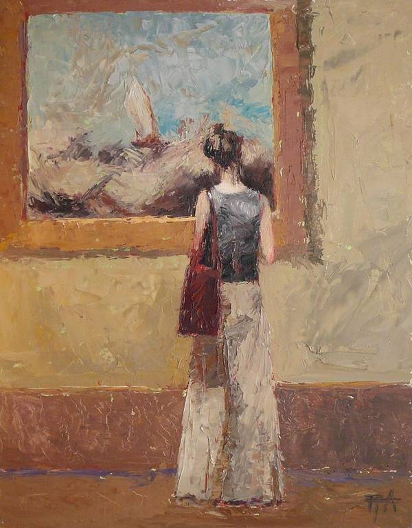 Girl Poster featuring the painting Admiring Turner by Irena Jablonski