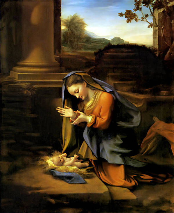 Correggio Poster featuring the painting Adoration Of The Child by Correggio