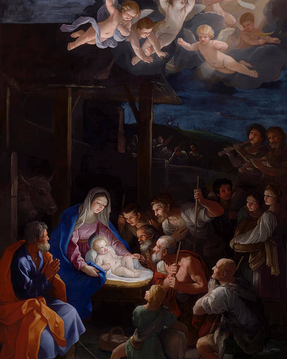 Guido Reni Poster featuring the painting Adoration Of The Shepherds by Guido Reni