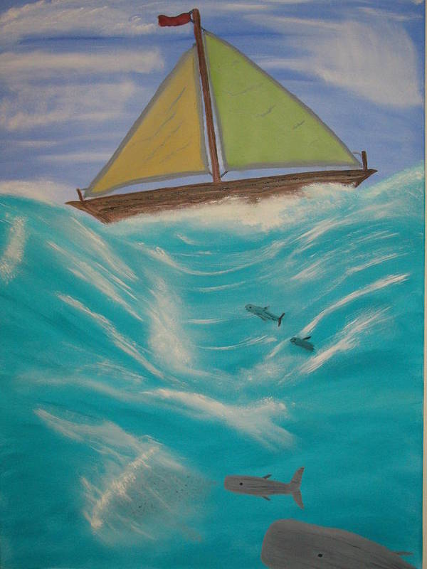Boats Poster featuring the painting Adrift At Sea by Edwin Long