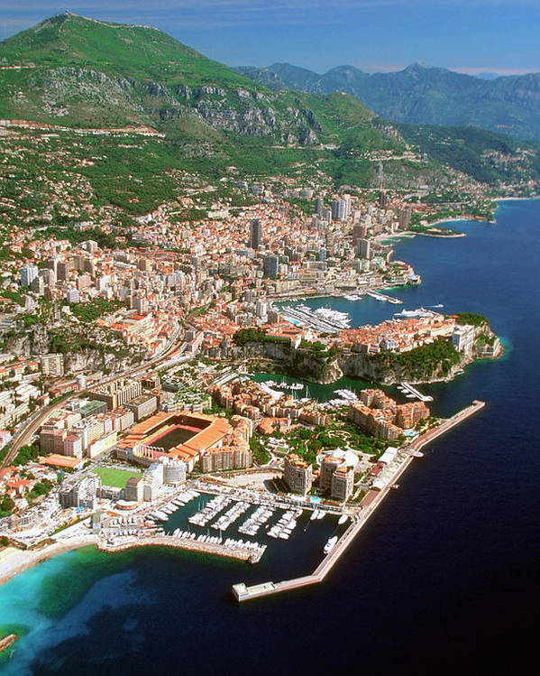 Vertical Poster featuring the photograph Aerial View Of A City, Monte Carlo, Monaco, France by Medioimages/Photodisc