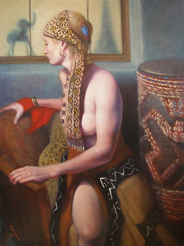 Realism Poster featuring the painting African Drum 1 by Donelli DiMaria