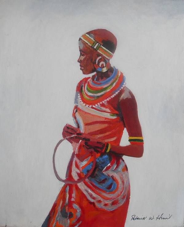 African American Art Poster featuring the painting African Lady In Red by Patrick Hunt