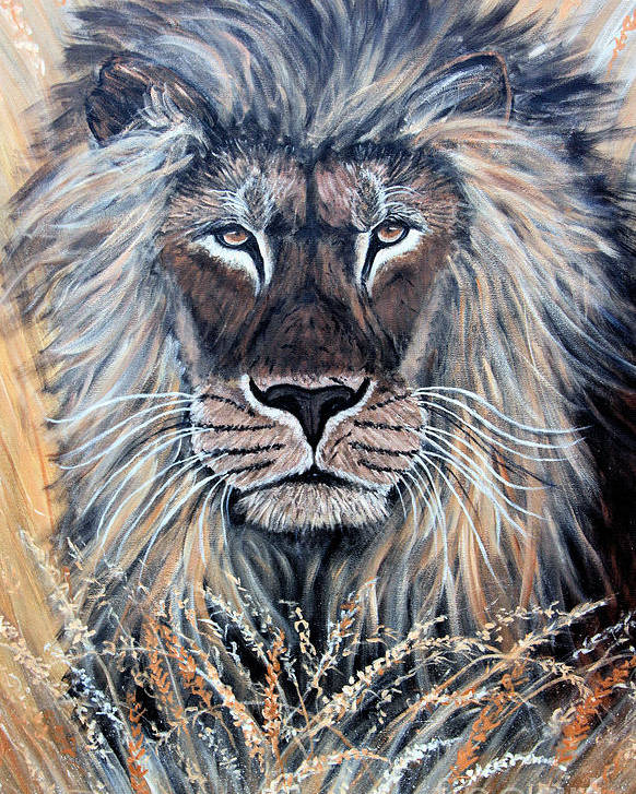 Lion Poster featuring the painting African Lion by Nick Gustafson