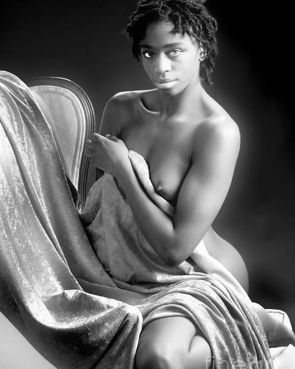 African Poster featuring the photograph African Nude Kneeling On Chair 1191.01 by Kendree Miller