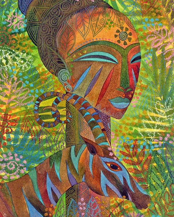 Exotic Jungle African Mask Tropical Antelope Poster featuring the painting African Queens by Jennifer Baird