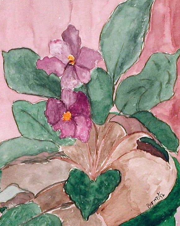 Watercolor Poster featuring the painting African Violet by Margie Byrne