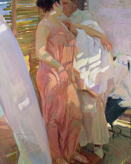 After The Bath Poster featuring the painting After The Bath by Joaquin Sorolla y Bastida