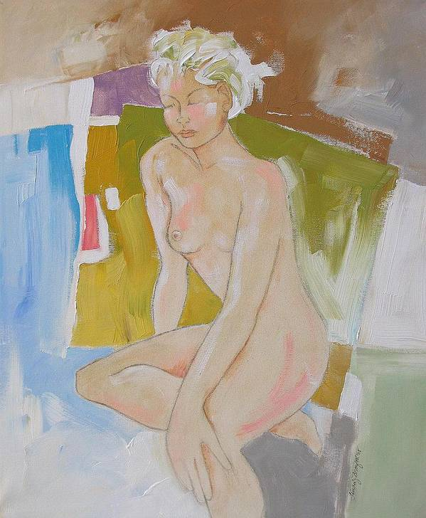 Abstract Poster featuring the painting After The Bath by Linda Monfort