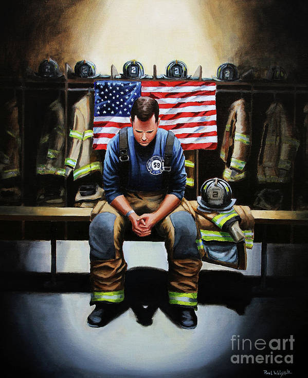 Firefighter Poster featuring the painting After the Fire by Paul Walsh