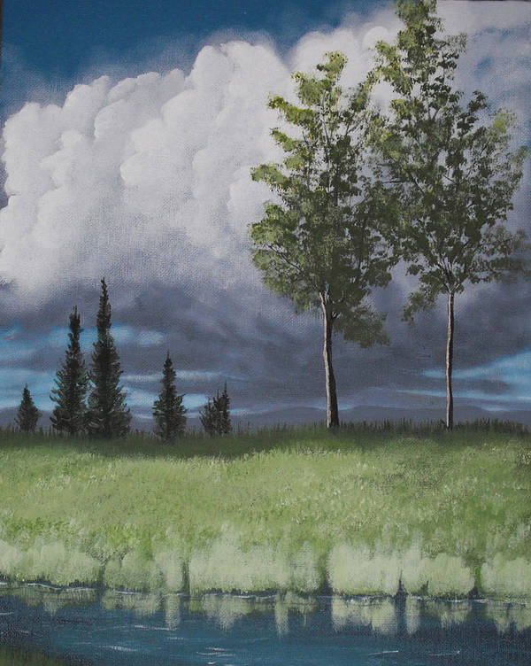 Landscape Poster featuring the painting After The Storm by Candace Shockley