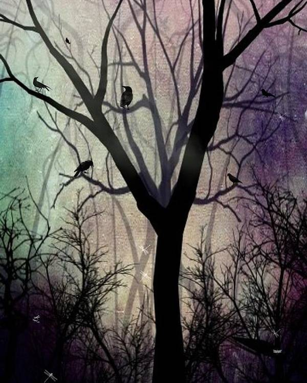 Trees Poster featuring the digital art After Twilight by Charlene Zatloukal