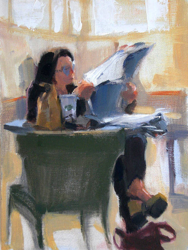 Figurative Poster featuring the painting Afternoon Coffee Break by Merle Keller