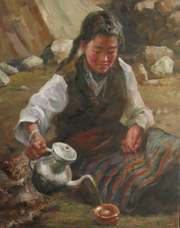 Tibet Poster featuring the painting Afternoon Tea by Kelvin Lei