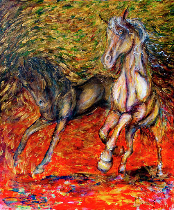 Horses Poster featuring the painting Against The Wind IIi by Nik Helbig