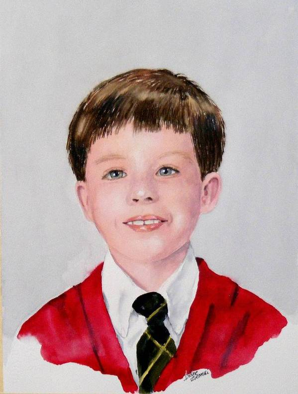 Poster featuring the painting Aidan - Commissioned Portrait by Diane Ziemski
