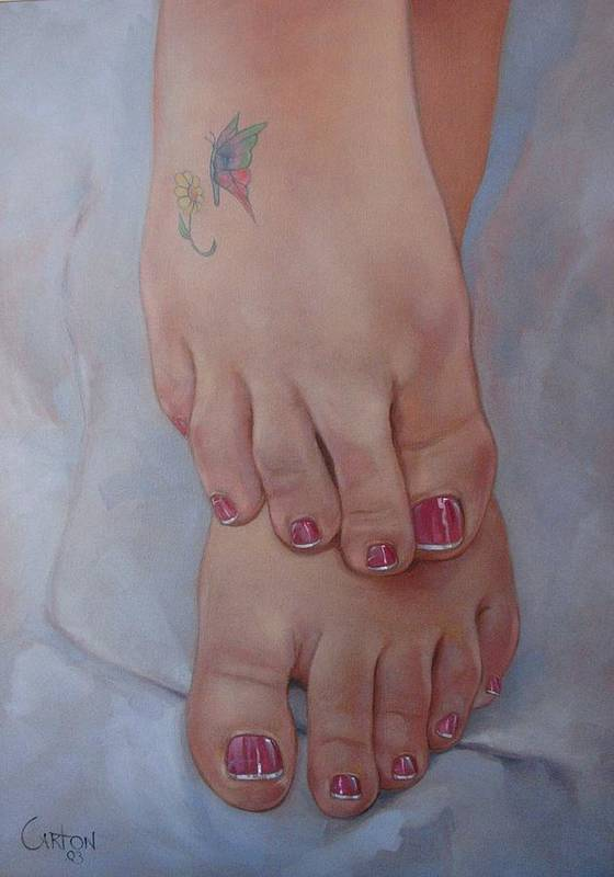 Pretty Feet Poster featuring the painting Aimee by Jerrold Carton