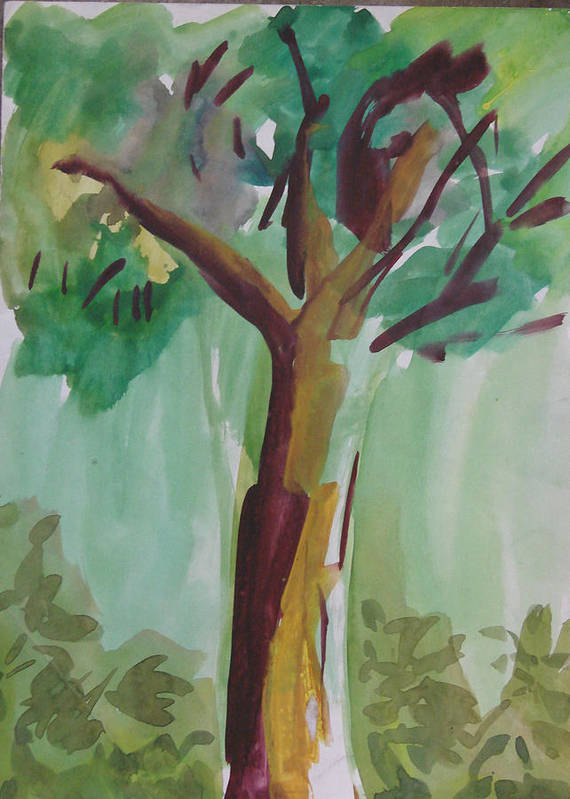 Tree Poster featuring the painting Aimless by Panditjeeartgallery