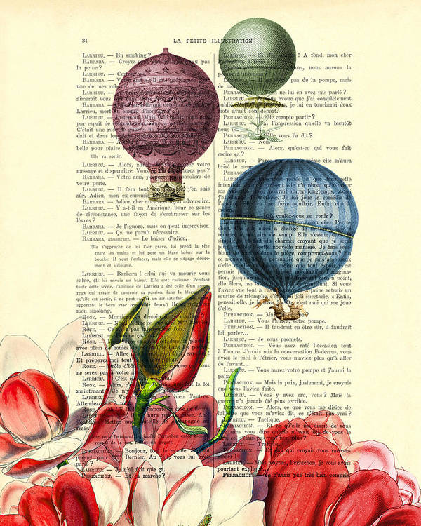 Hot Air Balloon Poster featuring the digital art Hot Air Balloons Above Flower Field by Madame Memento