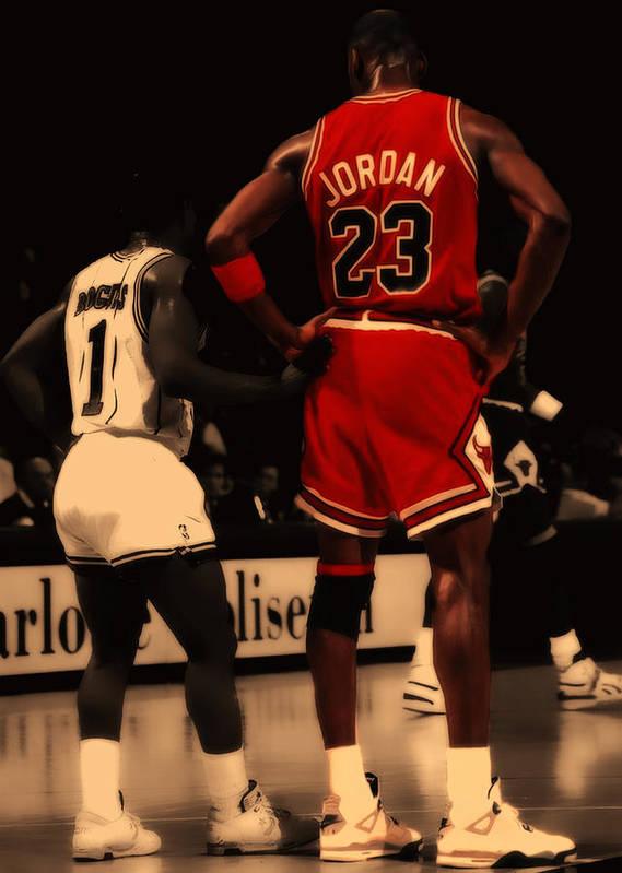 Michael Jordan Poster featuring the digital art Air Jordan And Muggsy Bogues  by Brian Reaves 277a35465