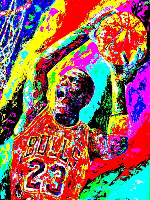 Air Jordan Poster featuring the painting Air Jordan by Mike OBrien