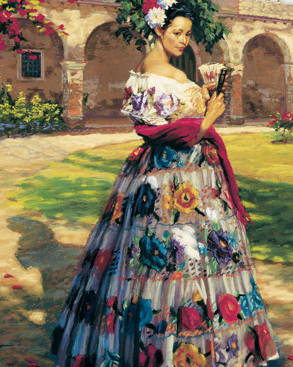 Woman Elaborately Embroidered Mexican Dress. Background Mission San Juan Capistrano. Poster featuring the painting Al Aire Libre by Jean Hildebrant